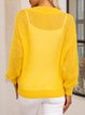 Yellow Cotton-Blend Plain Long Sleeve V Neck Sweater