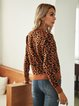 Coffee Paneled Leopard Crew Neck Long Sleeve Sweater