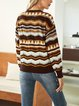 Coffee Casual Paneled Cotton-Blend Striped Sweater