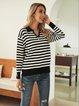 Black Paneled Cotton-Blend Boho Crew Neck Sweater