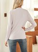 Purple Plain Crew Neck Long Sleeve Cotton-Blend Sweater