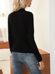 Black Long Sleeve Crew Neck Paneled Cotton-Blend Sweater