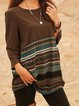 Brown Paneled Crew Neck Long Sleeve Cotton-Blend Shirts & Tops