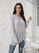 Gray Boho Long Sleeve Paneled Cotton-Blend Shirts & Tops