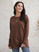 Brown Casual Crew Neck Long Sleeve Shirts & Tops