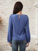 Blue Long Sleeve Casual Cotton-Blend Shirts & Tops