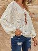 Paneled Plain V Neck Sweater