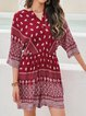 Red Tribal Half Sleeve Floral-Print One-Pieces