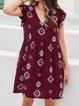 Wine Red Geometric A-Line Short Sleeve Dresses
