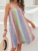 Pink Spaghetti-Strap Paneled Crew Neck Striped Dresses