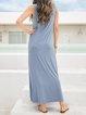Blue Floral-Print Cotton-Blend A-Line Casual Dresses