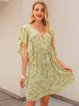 Green Crew Neck Cotton-Blend A-Line Holiday Dresses