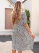 White Paneled Cotton-Blend Short Sleeve Dresses