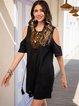 Black Shift Half Sleeve Paneled Cold Shoulder Dresses