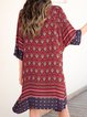 Red Paneled 3/4 Sleeve Casual Dresses