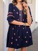 Blue Cotton-Blend Short Sleeve V Neck A-Line Dresses