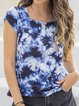 Navy Blue Casual Cotton-Blend V Neck Ombre/tie-Dye Shirts & Tops