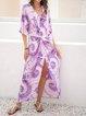 Purple Short Sleeve Ombre/tie-Dye Swing Dresses