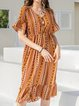 Yellow Tribal Cotton-Blend Casual Short Sleeve Dresses