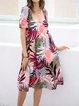 Pink Floral Printed Short Sleeve Dresses