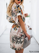 As Picture  Women  Short Sleeve Printed Floral Floral Dress