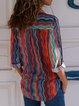 Chiffon Stripe V-Neck Thin Blouse Shirt