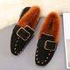 Fleece Lined Flat Heel Rivet Suede Loafers