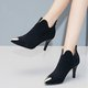 Pointed Toe Zipper Suede High Heel Boots