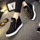 Punk Style Rivets Zipper Wedge Heel Loafers