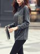 Casual Long Sleeve Cowl Neck Patch T-Shirt