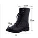 Black Lace-up Casual PU Motorcycle Boots