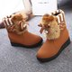 Bowknot Fuzzy Pearls Wedge Heel Paneled Boots