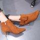 Faux Suede Bowknot Zipper High Heel Boots