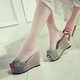 Wedge Heel Bowknot Casual Linen Platform Slippers