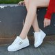 Flower Embroidered Lace-up PU Winter Platform Sneakers