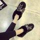 Rhinestone Bowknot Fuzzy Slip On Platform Loafers