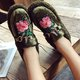 Casual Flower Embroidered Slip On Warm Loafers