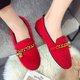 Fuzzy Dress Chain Flat Heel Slip On Loafers